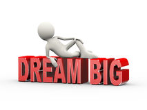 3d man lying on word dream big Stock Photo