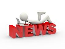 3d man lying on word news Stock Image