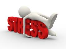 3d man lying on word word stress Stock Photos