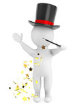3d man with magic wand and hat. On a white background Stock Image