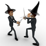 3d man magician fight with sticks concept Royalty Free Stock Photo