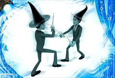3d man magician fight with sticks illustration Royalty Free Stock Photo