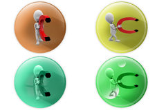 3d man magnet icon Stock Images