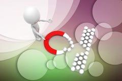 3d man magnet illustration Stock Images