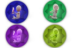 3d man magnify glass icon Stock Image