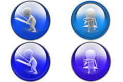 3d man magnifying glass icon Stock Photos