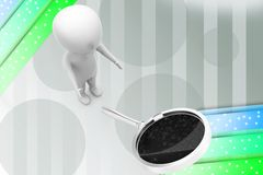 3d man magnifying glass illustration Stock Photography