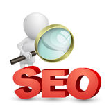 3d Man with a magnifying glass looking at the text SEO Stock Photo