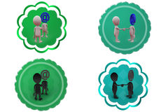 3d man mail head icon Royalty Free Stock Images