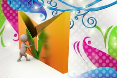 3d man mail icon and arrow  illustration Stock Images