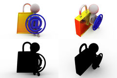 3d man mail lock concept collections with alpha and shadow channel Royalty Free Stock Photos