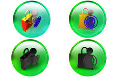 3d man mail lock icon Royalty Free Stock Photos