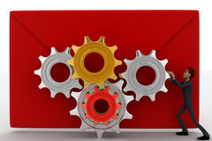 3d man with mail and mechanical gear system on it concept Royalty Free Stock Photo