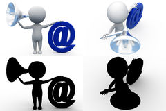 3d man mail notification concept collections with alpha and shadow channel Stock Photo