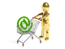 3d man with mail sign in shopping cart Stock Image