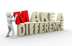 3d man with make a difference quote Stock Image