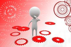 3d man making decision with gears illustration Stock Photo