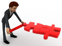 3d man making flying way using red jigsaw puzzle pieces concept Stock Images