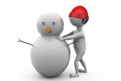 3d man making snow man concept Stock Photography