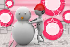 3d man making snow man illustration Royalty Free Stock Photo