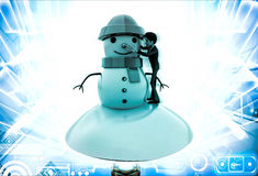 3d man making snowman illustration Royalty Free Stock Photo