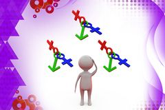 3d man with male female icon  illustration Stock Photo