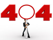 3d man man with 404 error number concept Royalty Free Stock Photography