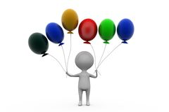 3d man with many balloons concept Stock Photos
