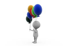 3d man with many balloons concept Stock Photography