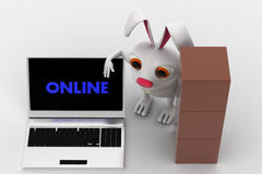 3d man with many boxes for delivery and laptop with online text concept Stock Images