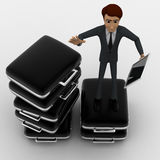 3d man with so many briefcases and touch tablet concept Royalty Free Stock Photography