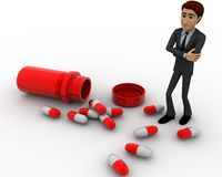 3d man with many capsules concept Royalty Free Stock Photography