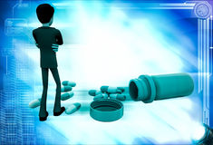 3d man with many capsules illustration Stock Photography