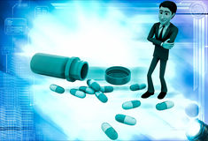 3d man with many capsules illustration Royalty Free Stock Photo