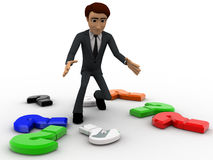 3d man with many colourful question mark concept Royalty Free Stock Images