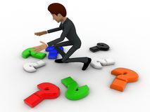3d man with many colourful question mark concept Stock Photo