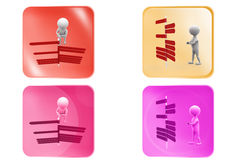 3d man many direction icon Stock Images