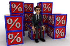 3d man with many discount percentage cube concept Royalty Free Stock Images