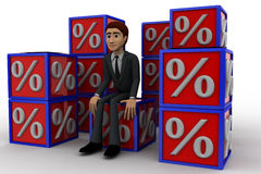 3d man with many discount percentage cube concept Royalty Free Stock Photo