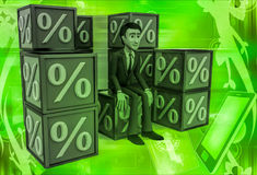 3d man with many discount percentage cube illustration Stock Photography