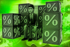 3d man with many discount percentage cube illustration Stock Image