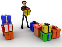 3d man with many gifts concept Royalty Free Stock Images