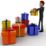 3d man with many gifts concept Stock Image