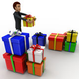 3d man with many gifts concept Royalty Free Stock Photo