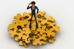 3d man with so many golden jigsaw pieces of puzzle concept Stock Photos