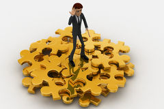 3d man with so many golden jigsaw pieces of puzzle concept Royalty Free Stock Photography
