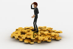 3d man with so many golden jigsaw pieces of puzzle concept Stock Photography