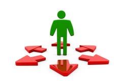 3d man many path arrow concept Royalty Free Stock Photos