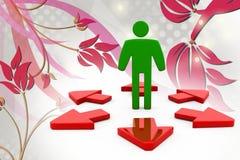 3d man many path arrow  illustration Stock Image