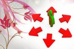 3d man many path arrow  illustration Royalty Free Stock Images